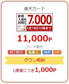 楽天カード発行の案件だと1,000P(円)のダウン報酬
