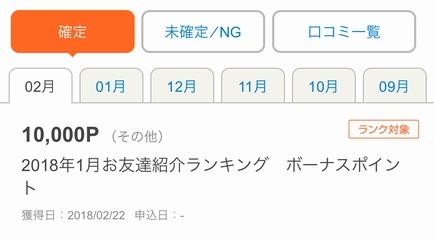 友達紹介ランキングで1万円相当頂きました!