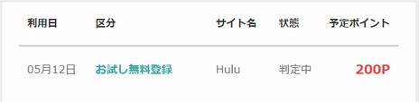 モッピー経由で「Hulu無料お試し登録」200P