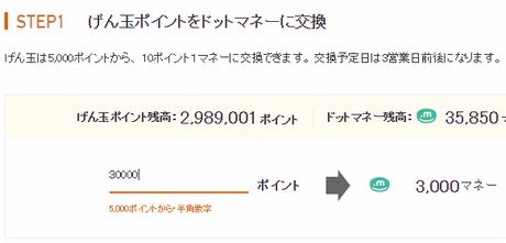げん玉からドットマネーに3,000円分ポイント交換