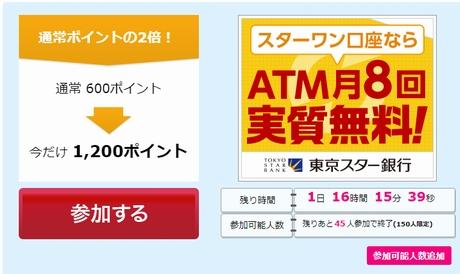 ハピタス「東京スター銀行の口座開設」で1,200P(円)