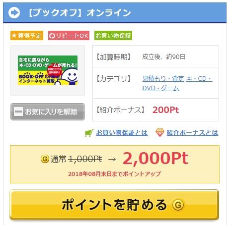 ゲットマネー経由でブックオフ買取を利用すると2,000P(200円相当)