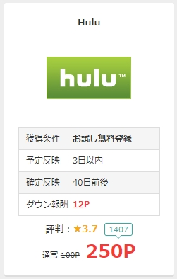 Huluにお試し無料登録で250P(250円相当)のお小遣い!