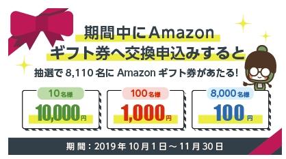 Amazonギフト券に交換するとAmazonギフト券が当たる!