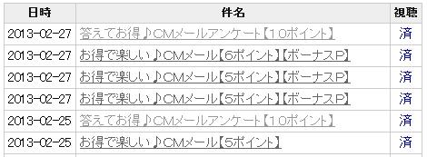 サイト内メニュー「CMメール」