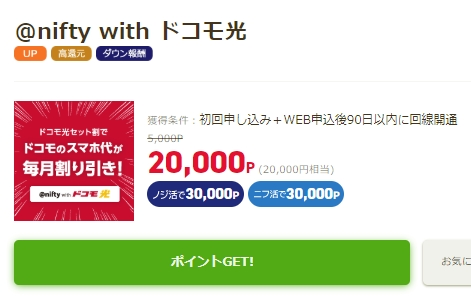 @nifty with ドコモ光に申し込みで20,000P貰える!