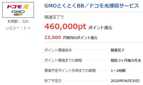 ドコモ光GMOとくとくBB開通で460,000P(23,000円相当)貰える