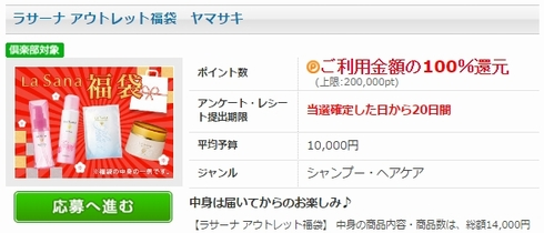 ラサーナ福袋セット10,000円が100%還元