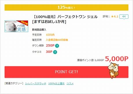 「パーフェクトワンジェル」購入で125%還元!