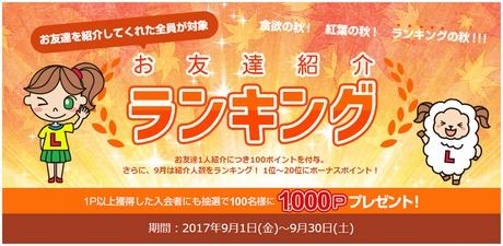 友達紹介ランキングで30万円分のボーナスポイント